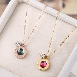 MK Garnet & Crystal Slider Pendant Necklace NWT
